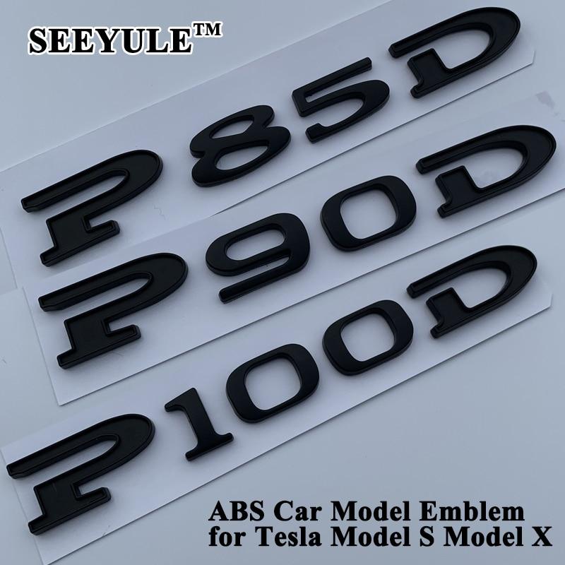 SEEYULE Matt Black Car Displacement Emblem Logo Sticker 85 90 P85D P90D P100D 85D 90D 100D