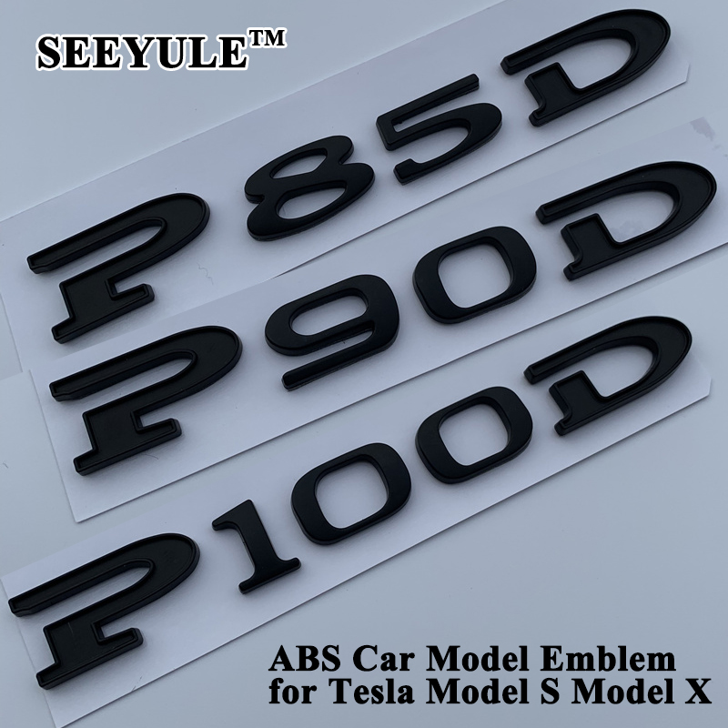 SEEYULE Matt Black Car Displacement Emblem Logo Sticker 85 90 P85D P90D P100D 85D 90D 100D Accessories for Tesla Model S Model X