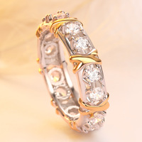 925 sterling silver womens jewelery luxury gold & Silver plating 8 hearts & 8 arrows zircon absolute x ring cross ring
