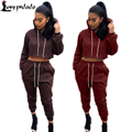 Jumpsuits 2016 Autumn 2 Piece Set Women Hoodies Track-Suit Hooded Sweatshirt + Long Pants Winter Fitness Rompers Womens Jumpsuit
