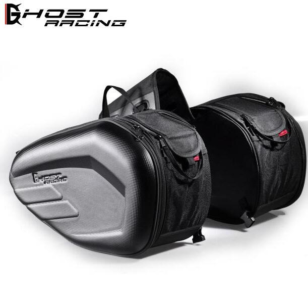 GHOST RACING 2pcs Universal Motorcycle Saddlebag Tail Bag Luggage Knight Helmet Motorbike Parts