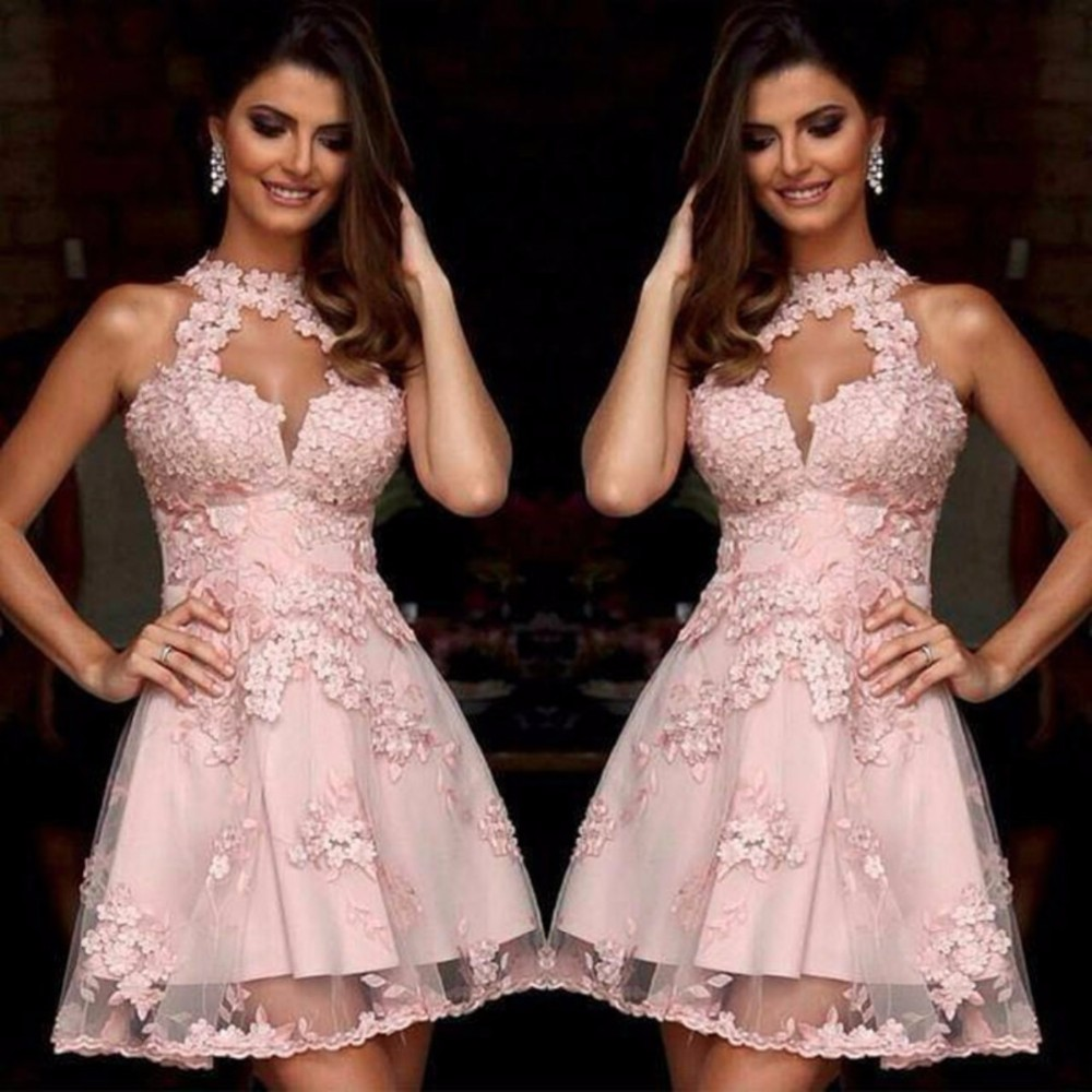 Pink Short Halter A Line   Cocktail     Dresses   2019 Appliques vestido curto Sheer Mini Woman   Dresses   For Party On Sale M1037