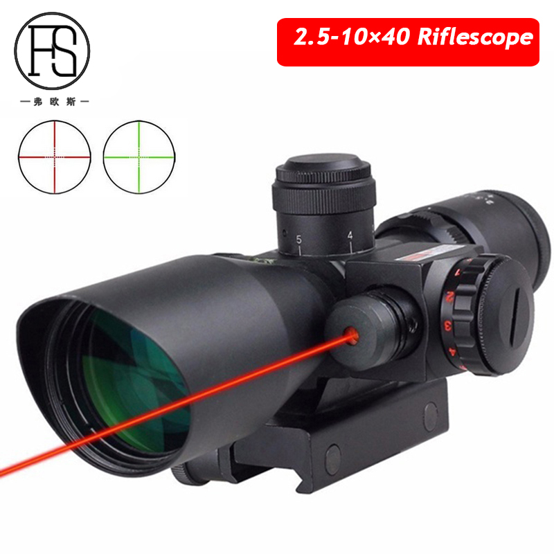 Hot Sale 2.5-10 x 40 Tactical Red Laser Sight Scope Military Shooting Sniper Scope Hunting Optics Riflescope 11mm 20mm Choice hot sale 2 5 10x40 riflescope illuminated tactical riflescope with red laser scope hunting scope