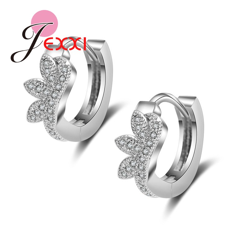 PATICO Luxury Pure Silver Hoop Lever Back Earrings Inlay Zircon Fashion Brilliant Eyelas ...