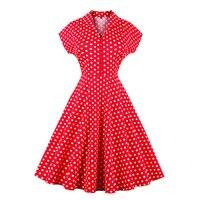 Sisjuly Women S Vintage Dress 2017 Summer Red Polka Dots Color Block Short Sleeve A Line