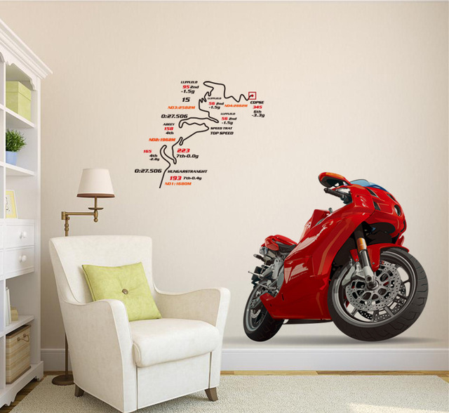 3D Red Man Motorcycle Wall Stickers Art Wall Decals Removable Murals  Nursery Decoration Home Docor Kitchen Tools ...