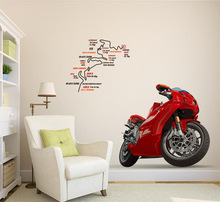 3D red man motorcycle Wall Stickers Art Wall Decals Removable Murals Nursery Decoration Home Docor Kitchen Tools Free Shipping