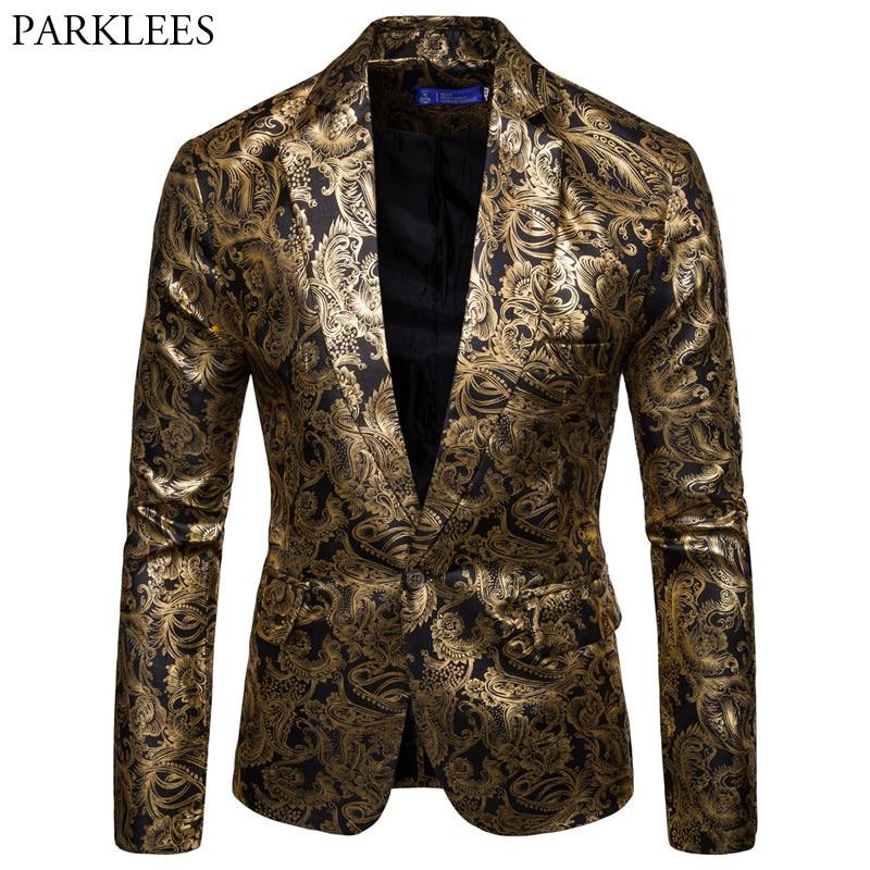 Gold Coated Metallic Suit Men Jacket Glitter Bronzing Floral Print Blazer Jacket Men Slim One button Nightclub DJ Stage Costumes
