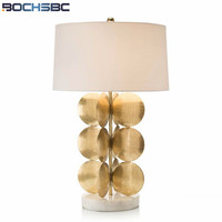 Gold Round Leaves Decoration Desk Lamp with Marble Base Lampara Living Room Bedroom Cloth Table Lamp for Bedroom H62cm