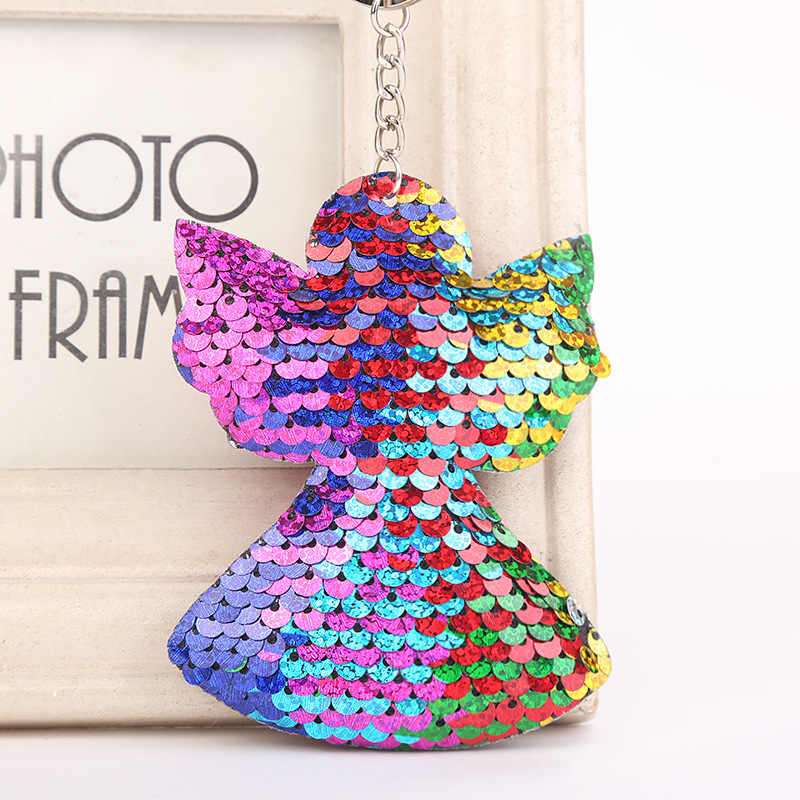 Tassel sequins keychain cute pompom angel keychain gifts for women Keychains Woman bag car accessories ring keychain