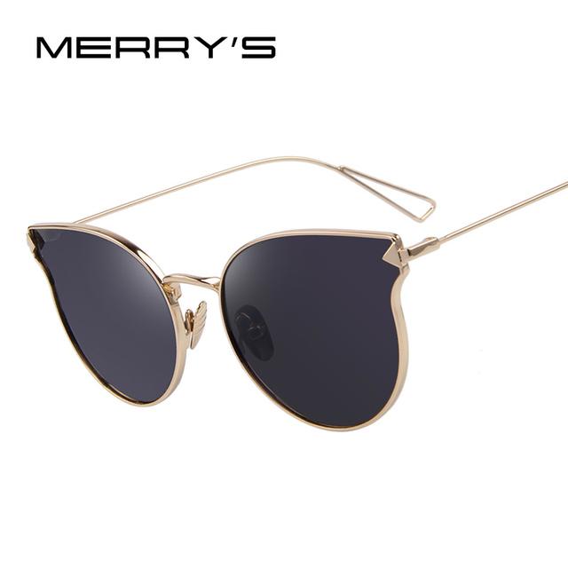 MERRY'S Moda de Las Mujeres Clásicas Gafas de Sol de Diseñador de la Marca gafas de Sol de Espejo de Recubrimiento de Panel Plano Parasoles S'7842
