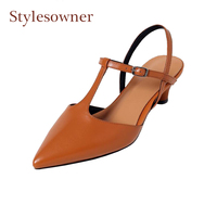 Stylesowner retro style pointed T strap hollow out women single shoes genuine leather 3cm med heel elegant ladydress party pumps