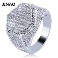 JINAO Hip Hop mode hexagone anneau cuivre or argent couleur plaqué glacé Micro Pave cubique breloque en zircon anneau pour hommes femmes