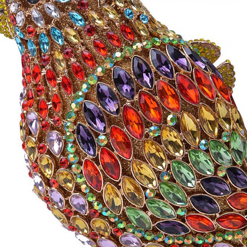 2019 New Arrival 9 Colors Rhinestone Bird Shape Women Evening Clutches Crystal Bag Diamond Ladies  Purse Gemstone Gold Handbags