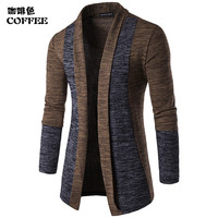 2017 Sweater Knitted Cardigan Men Fashion Males Long Sleeve Knitwear Tops Knitting Slim Sweater Coat For
