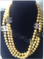 Hot Sell Noble FREE SHIPPING AS4906 NEW 60 Long Beautiful 8mm Gold Shell Pearl Necklace