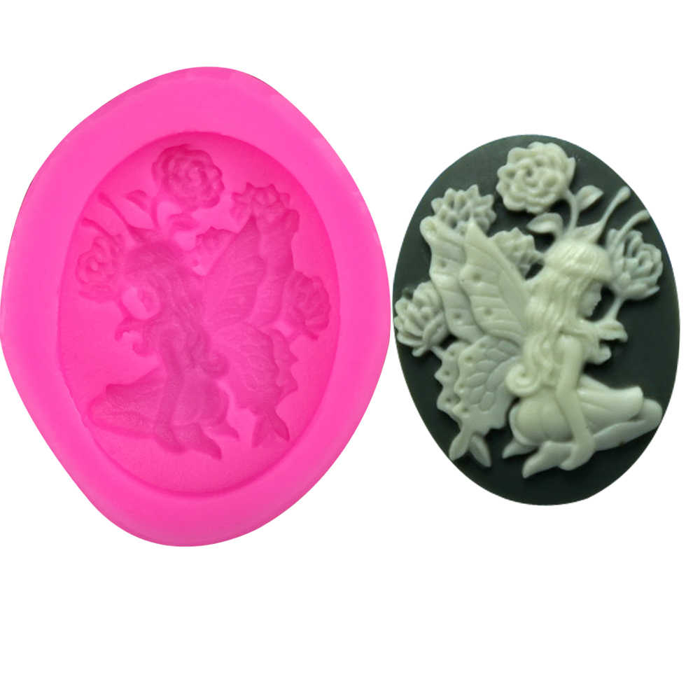 Flower angel Shape 3D fondant cake silicone mold chocolate pastry candy Clay making form de silicone para decoration tools F0228