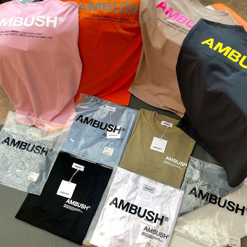 AMBUSH   T  -  shirt   Wen 1:1 high Quality Solid 8 colour black white Khaki blue   T     shirts   tees Hip Hop Summer Style AMBUSH   T     shirt