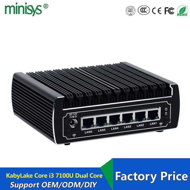 6 Ethernet LAN Fanless Pfsense Mini PC Intel Kabylake Core I3 7100u DDR4 Ram AES-NI Linux Server Firewall Computer For Window 10