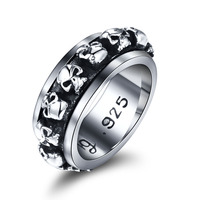Thai 925 Silver Gothic Rings Skull Jewelry Ring Punk Rock Mens Gothic Vintage