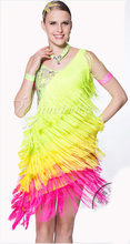 New customize custom fringe tassel diamond Rumba cha cha salsa tango Latin dance competition dress