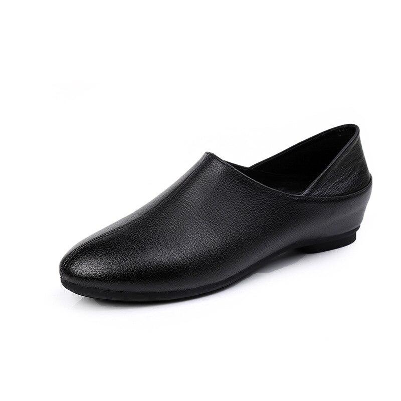 Cuir de vachette véritable cuir chaussure femme fond plat bout rond femmes grande taille 42 43 véritable cuir sans lacet chaussures décontracté