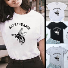 2QIMU Save the Bees Women T-Shirt Funny Print Casual O-Neck Fashion T-shirt for Summer Tops Female