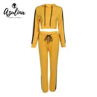 AZULINA Tracksuits 2 Piece Set Yellow Hoodies Crop Top Striped Pants Women Casual Autumn Winter Sweatshirts