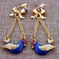 XQ Frete grátis 2015 Nova moda jóias liga pássaros azuis ouro longos brincos de pingente de presente de Natal