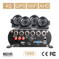 4CH 4G GPS Wifi AHD רכב נייד Dvr ערכות + 4 Pcs קדמי/אחורי חיצוני מתכת רכב מצלמה  2 TB דיסק קשיח 256G SD Vehcile וידאו מקליט-במערכת מעקב מתוך אבטחה והגנה באתר