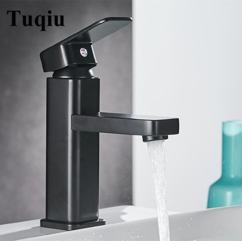High quality high temperature baking black brass bathroom hot and cold single lever square sink faucet basin tap hpb tall basin sink faucet long nose bathroom brass chrome single lever mixer tap hot and cold water high quality square style