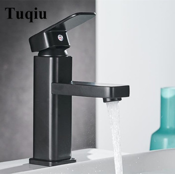 High quality high temperature baking black brass  bathroom hot and cold single lever square sink faucet basin tap