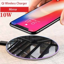 Qi Wireless phone Charger mirror 10W Quick for iPhone X 8 Fast Wireless Charging pad 5V/2A for Samsung S9 Note 9 8 Xiaomi Huawei стоимость