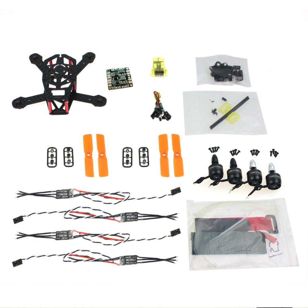 JMT DIY FPV Drone CC3D 150mm Mini RC Quadopter H150 Carbon Fiber Frame 3100KV CW/CCW Motor BLHeli OPTO 16A ESC 3030 Props