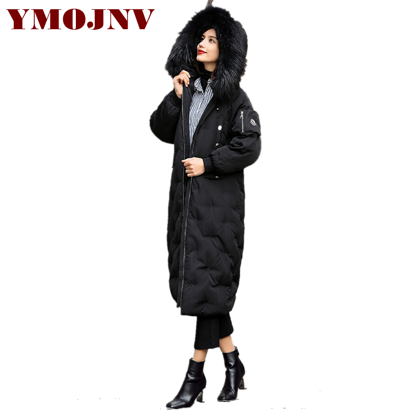 Fashion Large Sizes Long Down   Parka   2018 Women Winter Coat 7 Color Real Raccoon Fur Collar Hooded Thick Warm Womens Down Jackets