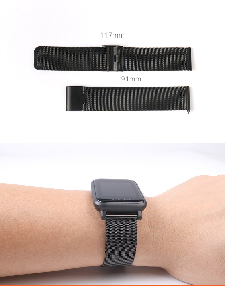 LPWHH Milanese Stainless Steel Watch Band Strap 20mm Ceramics Watchband Butterfly Buckle Comfortable Watch Bands Black Silver in Watchbands from Watches