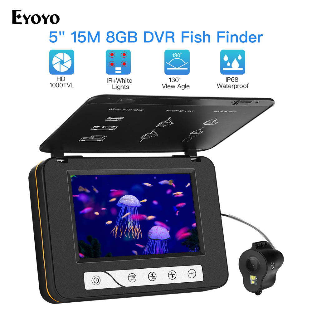 """Eyoyo Waterproof DVR Fish Finder 5"""" Monitor Video Camera 1000TVL Underwater Ice Fishing 4pcs Infrared+2pcs White Leds Fishfinder-in Fish Finders from Sports & Entertainment"""