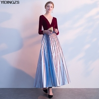 YIDINGZS Deep V Neck Elegant Evening Dress 3 4 Sleeve Formal Party Dress Real Simple