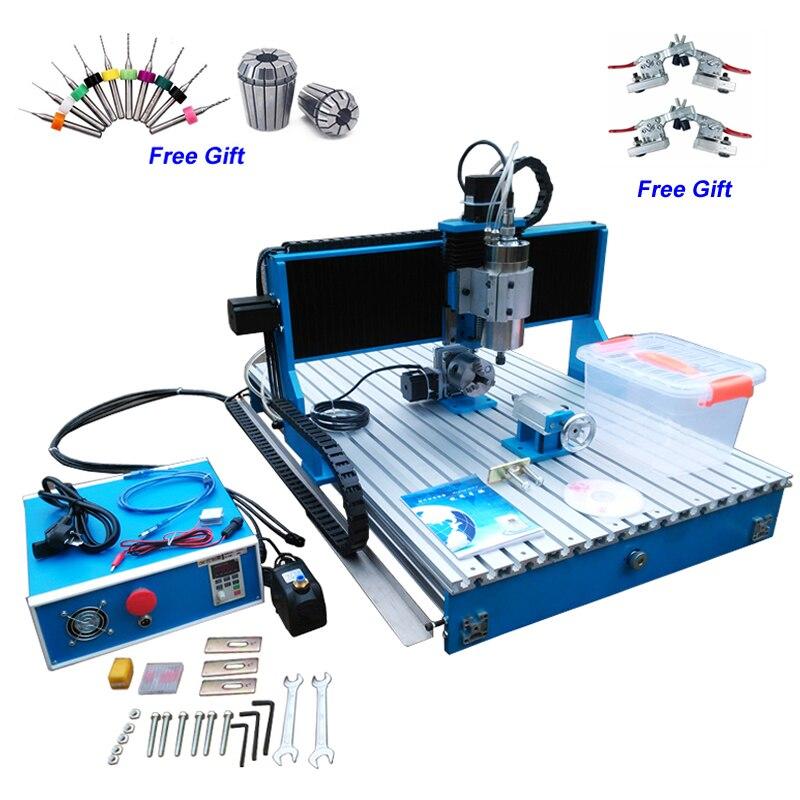 4 axes 6090 CNC routeur tour Machine à bois linéaire Guide Rail axe rotatif 3D Machine de gravure USB/port parallèle