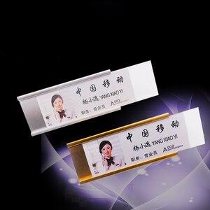 Image 3 - 200 Chiếc Trống Có Thể Tái Sử Dụng Tên Huy Hiệu Giá Đỡ Có Pin Nhân Viên Thẻ Tên Nhôm Tên Huy Hiệu Giá Đỡ