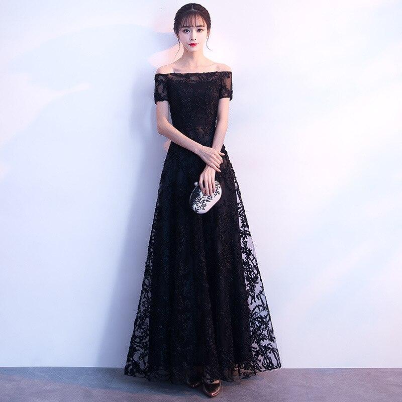 Robe De soirée noire Sexy à épaules dénudées Robe De soirée manches courtes perles longues robes De bal 2019 Vestido Longo