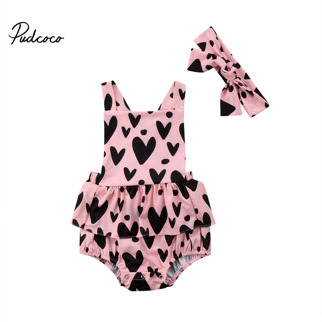 b77d5899c546 2Pcs New Arrive Cute Baby Girls Casual Sleeveless Backless Floral Romper  Dress Heart Clothes Braces Cotton Set