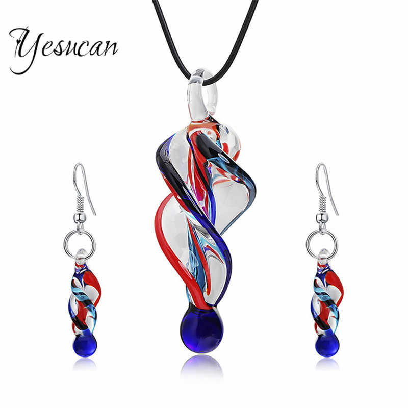 Yesucan Personality Glass Spiral Jewelry Set Women Irregular Glass Shape Pendant Charm Necklace Dangle Drop Earrings Bijoux Gift