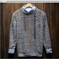 Solid Color Men Wool Sweater Retro Fashion Brand Pullovers Leisure Men's Knitted Sweate O-neck Christmas Sweater Men jersey
