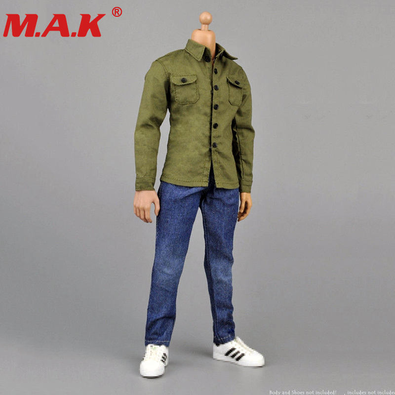 1//6 SCALE MALE CASUAL CLOTHING SET PLAID SHIRT JEANS FOR 12/'/' ACTION FIGURE DOLL