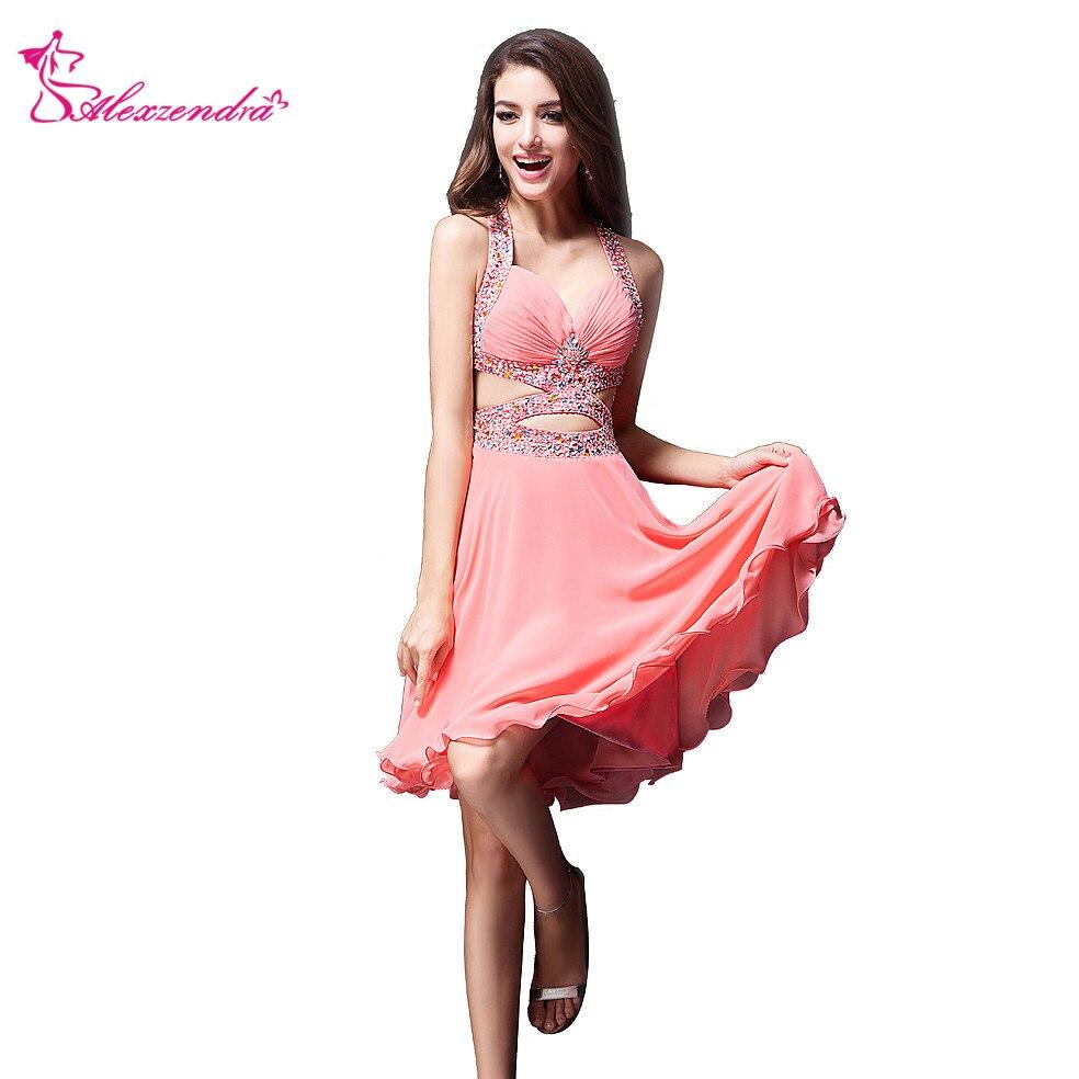Alexzendra Pink Chiffon Crossed Back Beaded Mini   Prom     Dresses   Simple Party   Dresses   Plus Size
