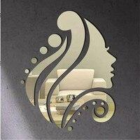 Funlife קיר ילדה יפה מראה סלון מדבקת אקריליק פוסטר אמנות קיר מדבקת מדבקות קיר בית אביזרי קישוט