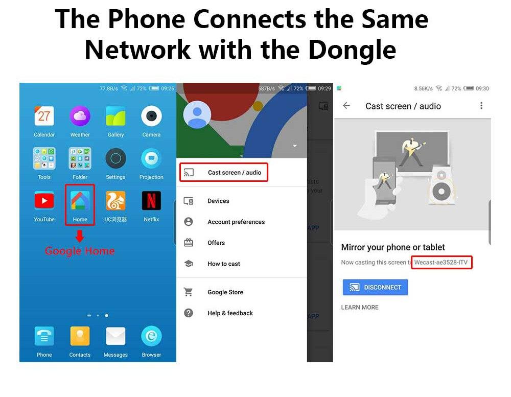 QINQIN Wireless Display HDMI Wecast G4 para Android iOS de Google Chromecast 4 4G Ayuda Miracast Celular de Datos de Medios de fundici/ón Stick de TV