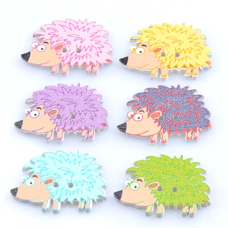 50pcs 32x22mm Mixed Hedgehog Painted Wooden decorative Buttons For Sewing Scrapbooking Crafts MT0963 art