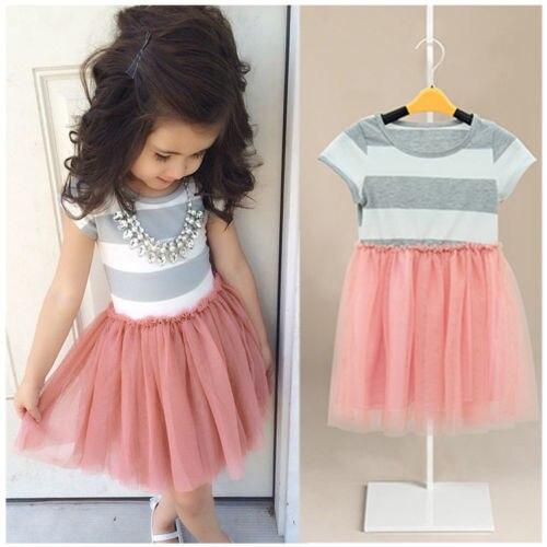 Pudcoco 2019 Baby Girls Dress Cute Striped Princess